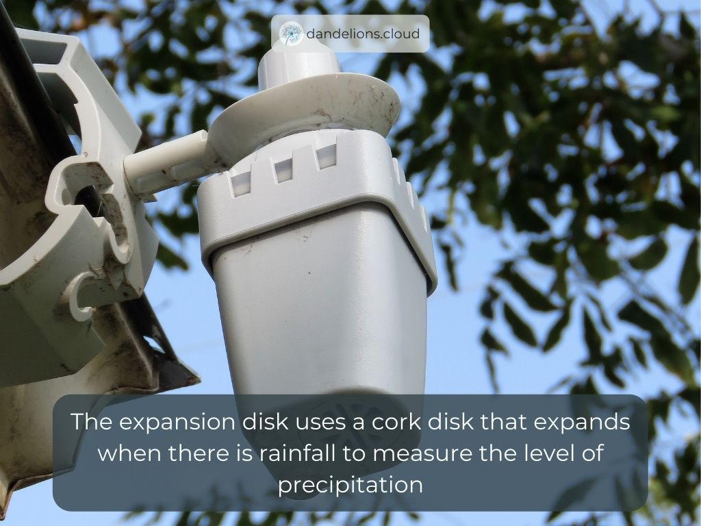 The expansion disk uses a cork disk that expands when there is rainfall to measure the level of precipitation