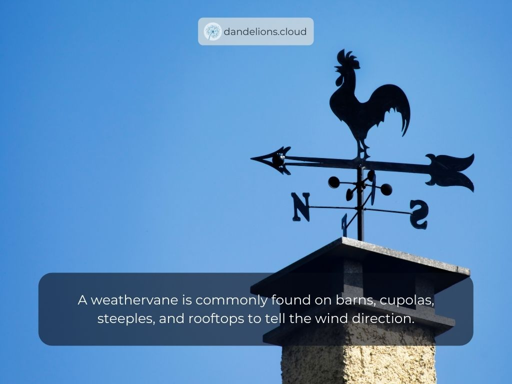 A weathervane is commonly found on barns, cupolas, steeples, and rooftops to tell the wind direction.