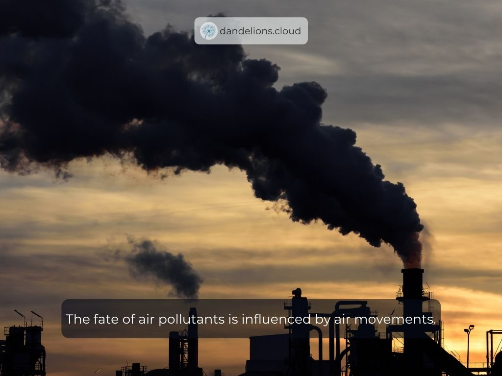The fate of air pollutants is influenced by air movements.
