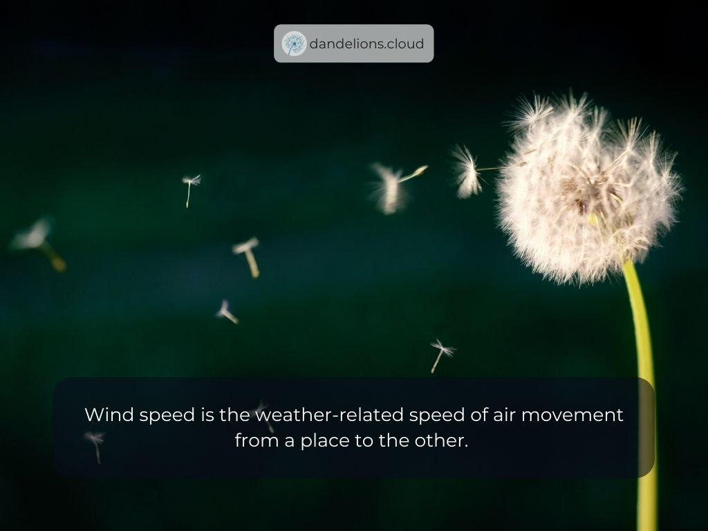 Wind speedis theweather-related speed of air movement from a place to the other.
