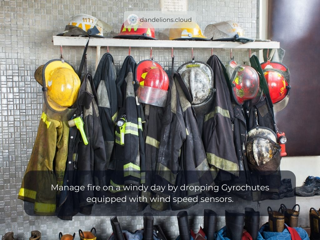 Manage fire on a windy day by dropping Gyrochutes equipped with wind speed sensors.