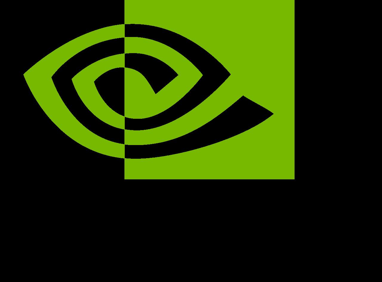 NVIDIA logo zielone oko nad czarnym tekstem nvidia