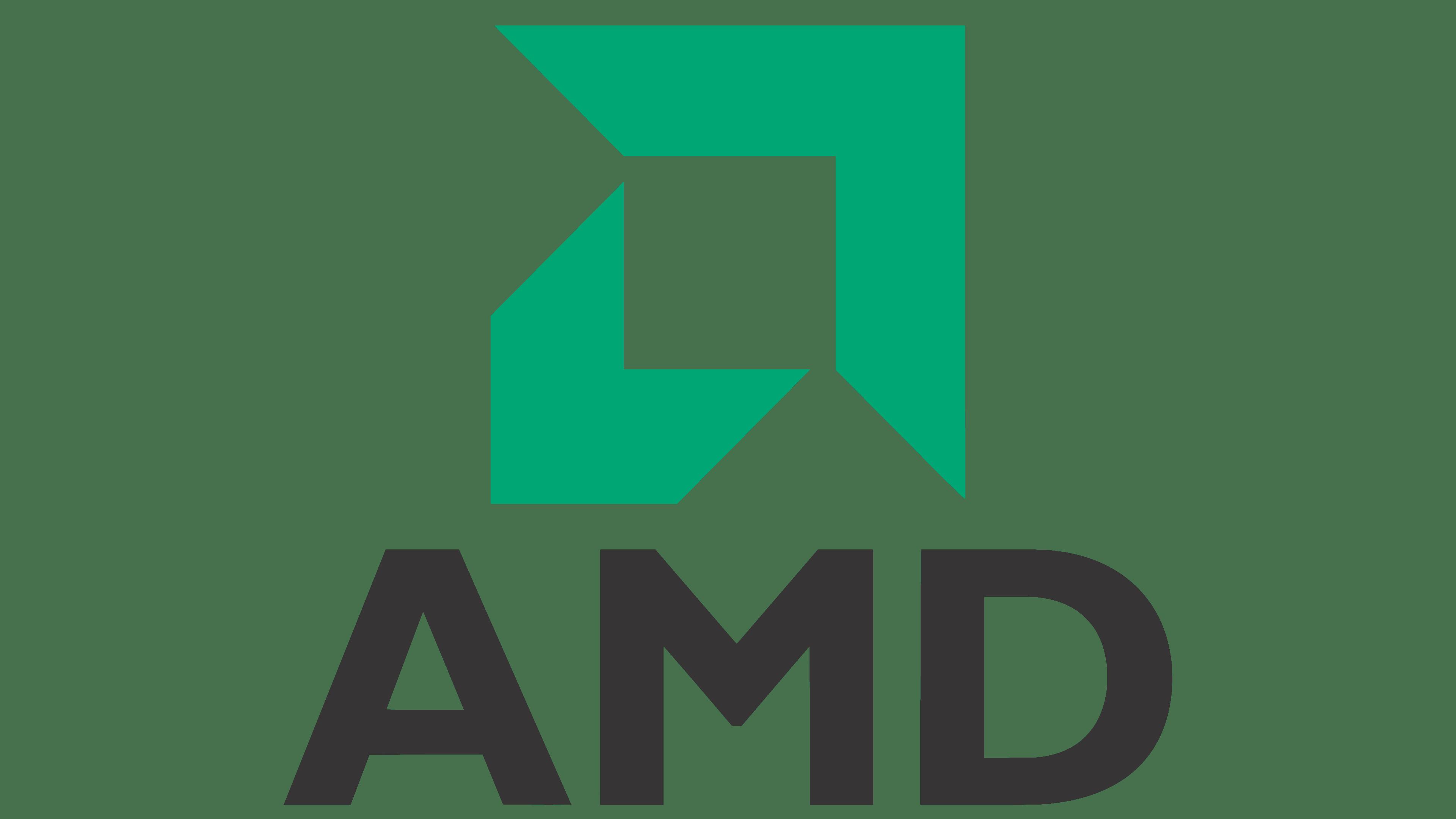 AMD logo zielony kanciasty kształt nad czarnym napisem AMD