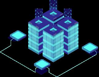 Układ elektroniczny koparki kryptowalut w niebieskich odcieniach