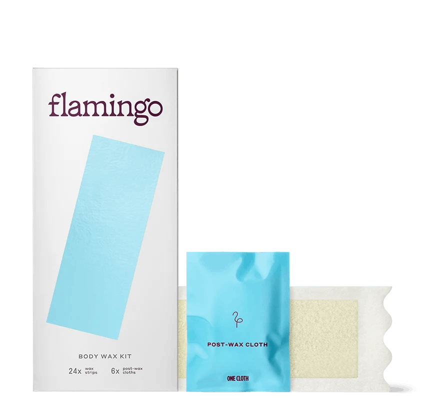 Flamingo soft-gel body wax strip, post-wax cloth, and packaging