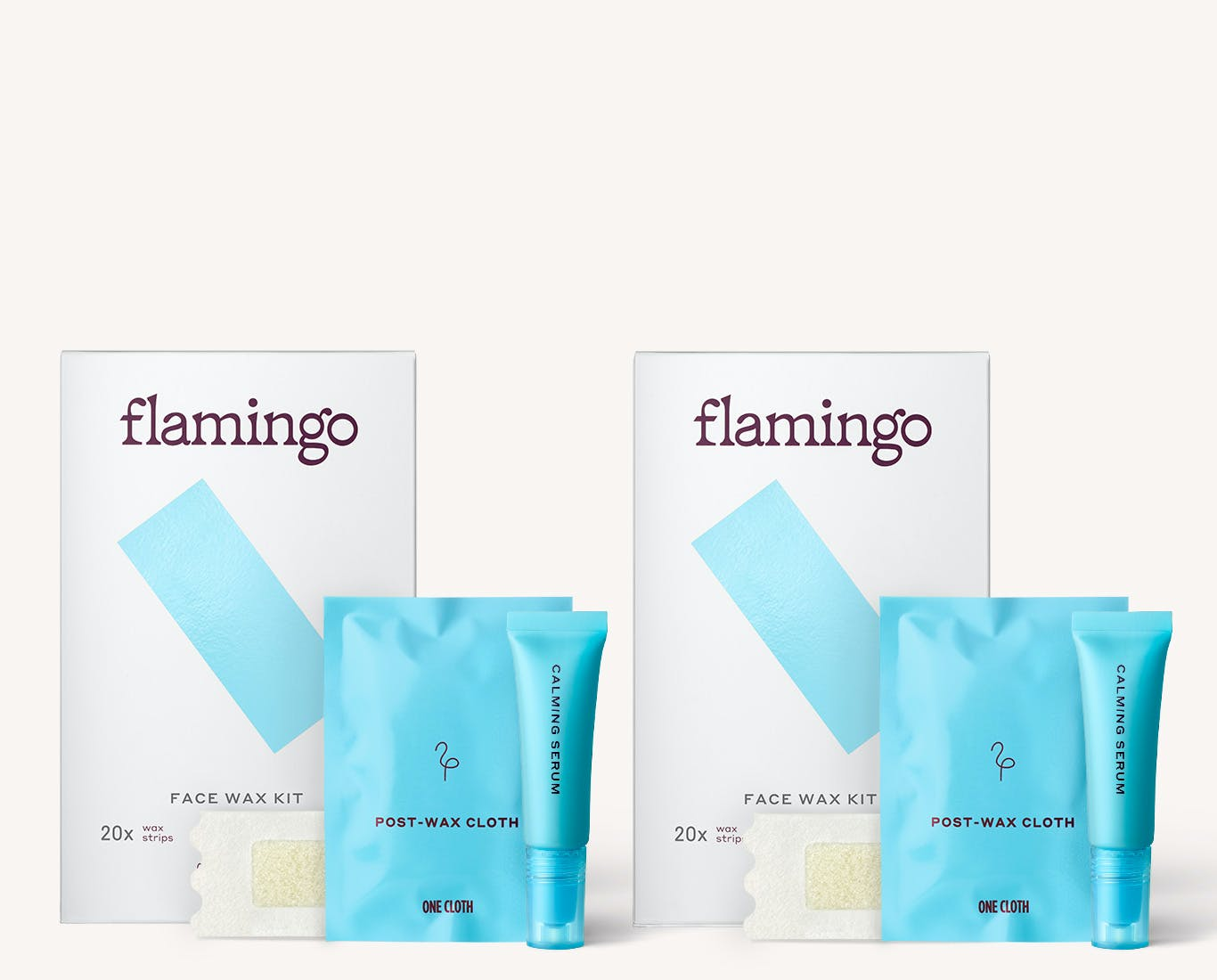 2 Flamingo Face Wax Kits with twice the face wax strips, post wax cloths, and calming serums