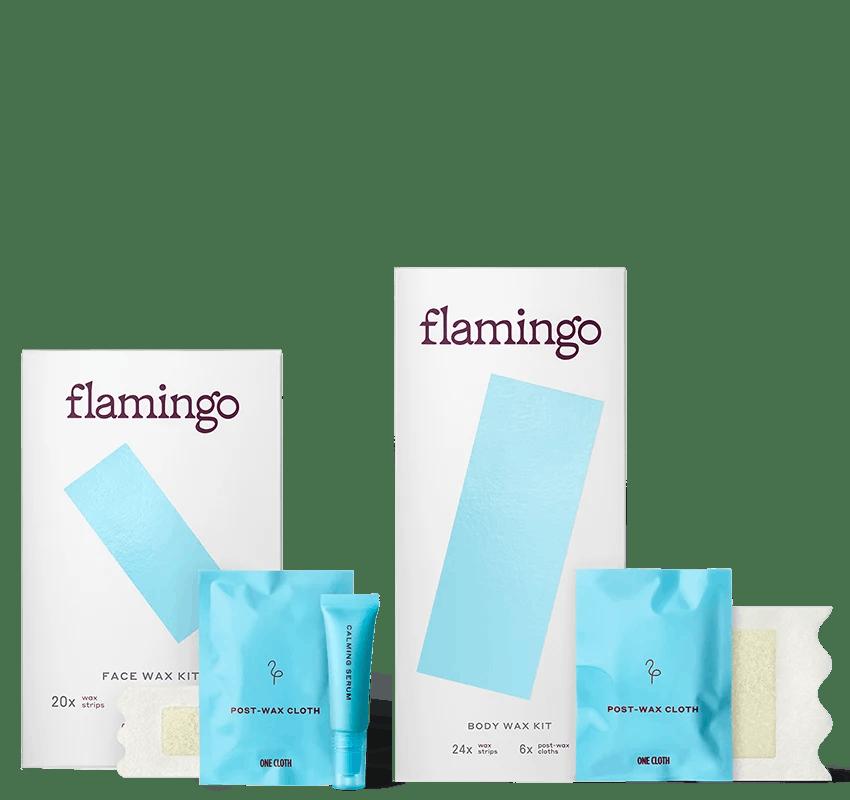 Flamingo Face Wax Kit & Flamingo Body Wax Kit with Post-wax Cloths & Calming Serum