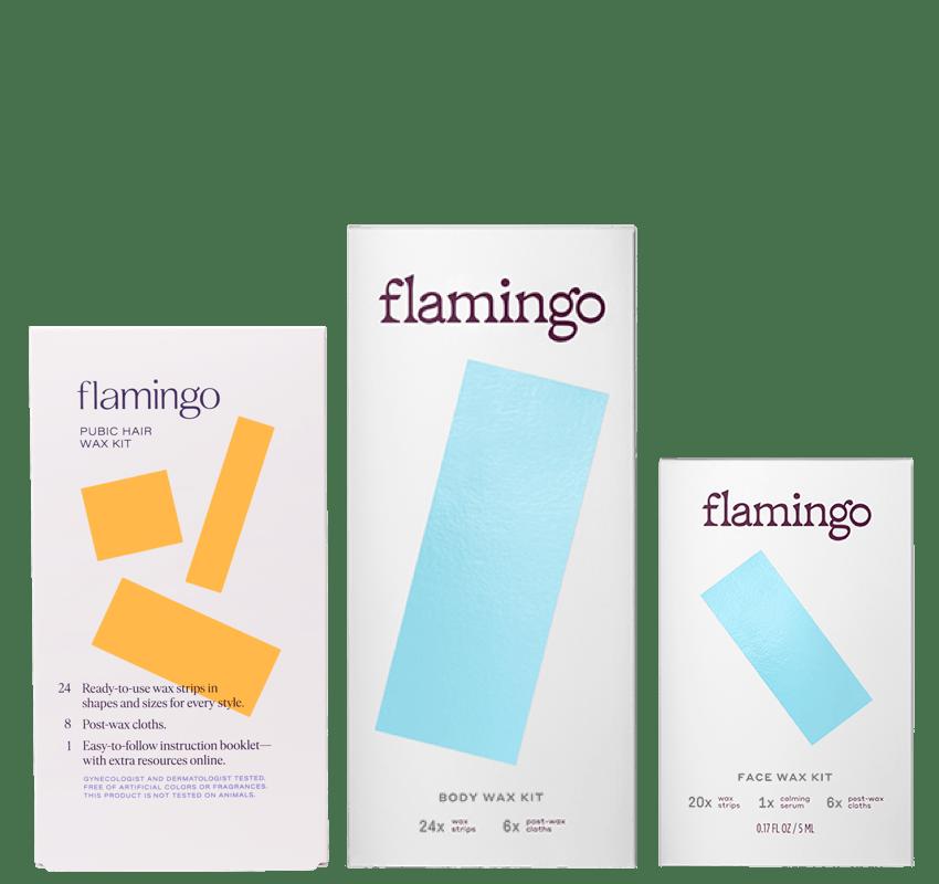 New! Flamingo Pubic Hair Wax Kit, Body Wax Kit, and Face Wax Kit.