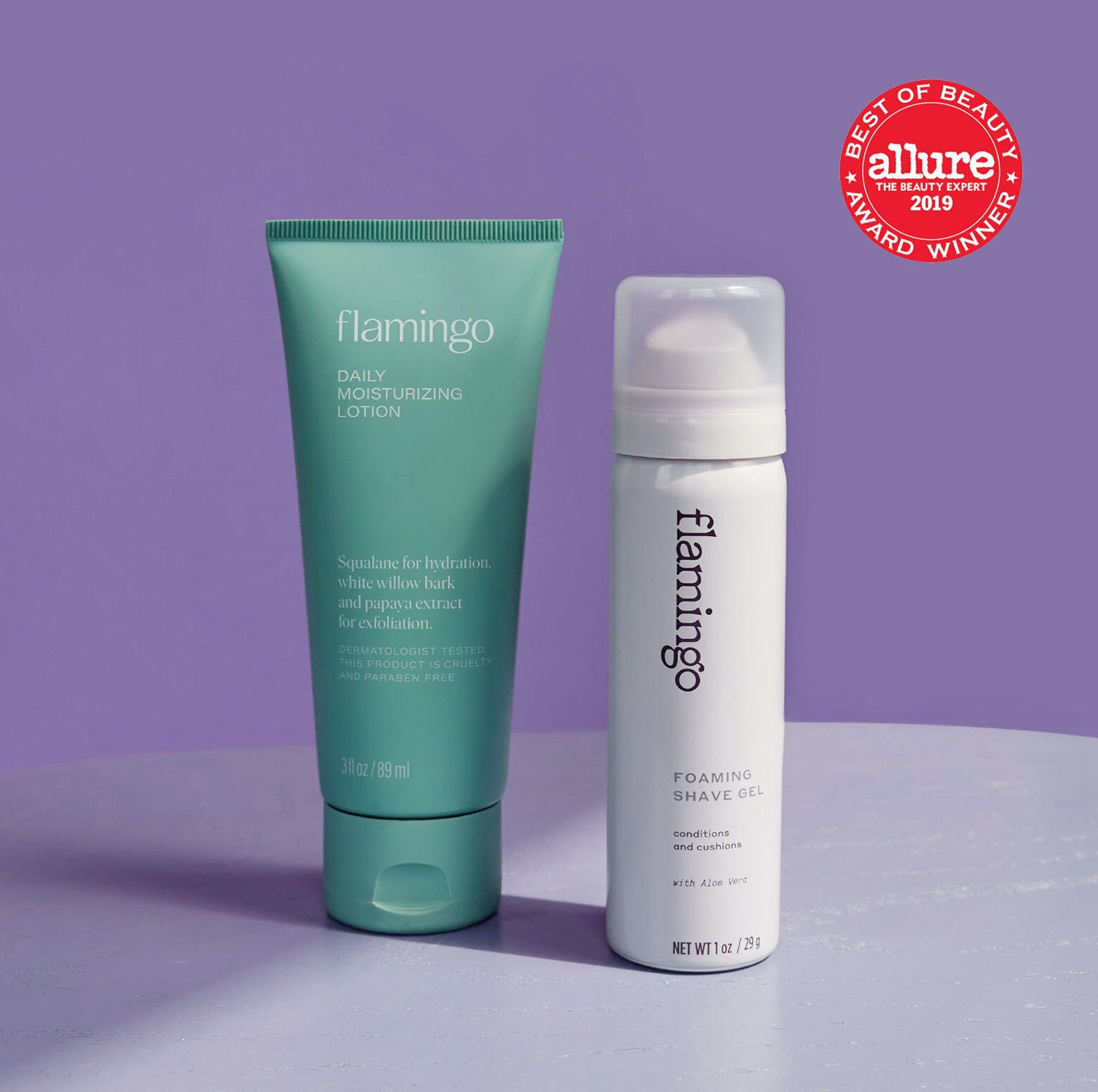 Allure best of beauty seal. Foaming shave gel and body lotion.