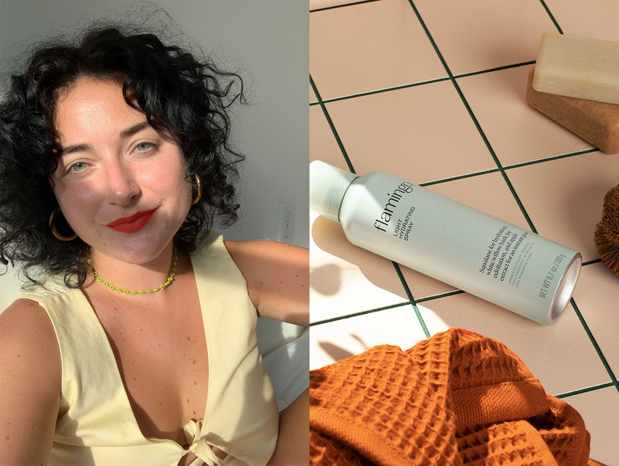 Left: woman looking at the camera. Right: light hydrating spray on the floor.