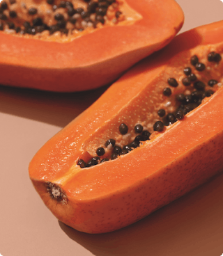 melon cut in half with seeds showing
