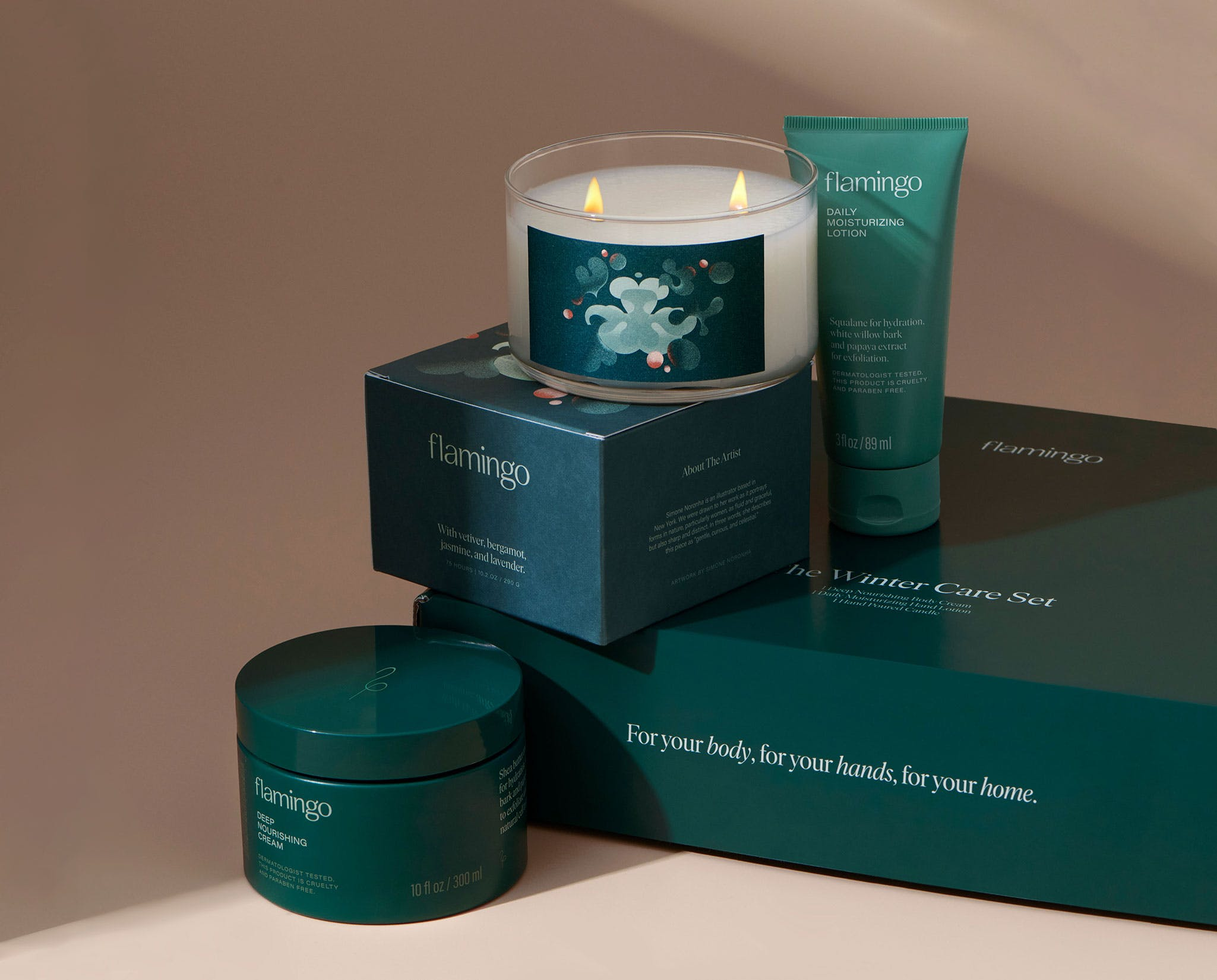 Two wick candle, daily moisturizing lotion, and deep nourishing cream
