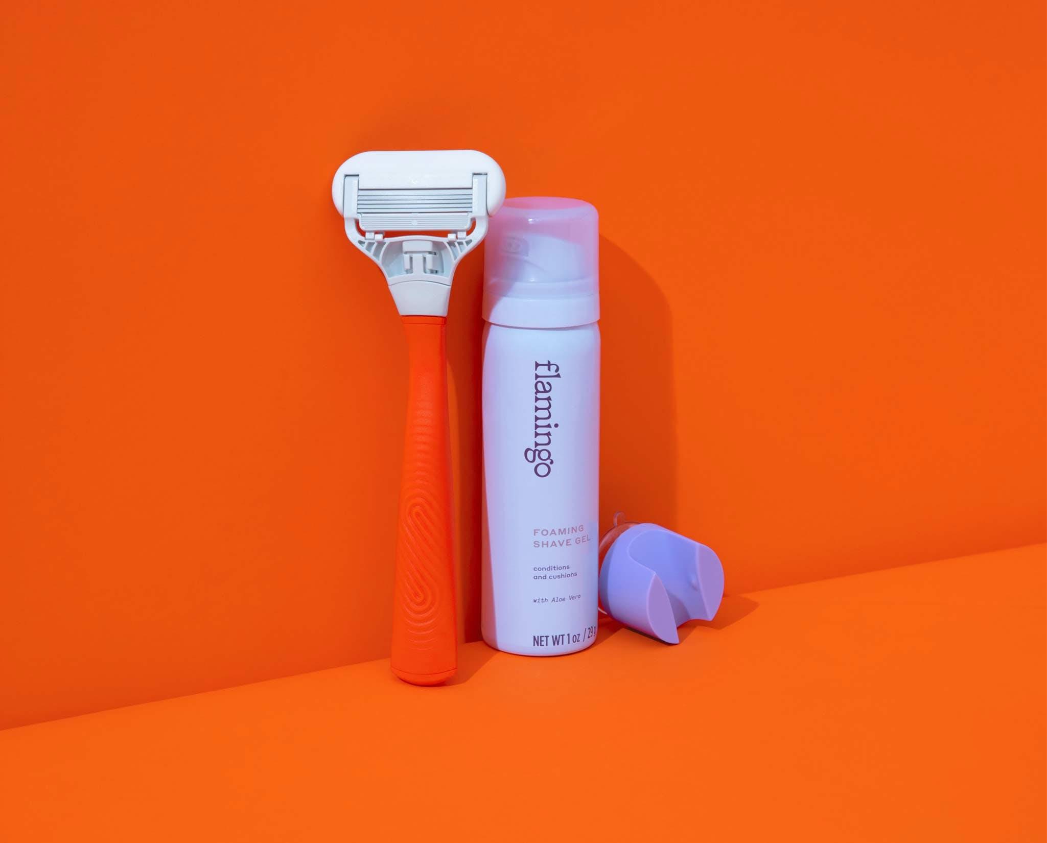 Razor, shave gel, and shower hook