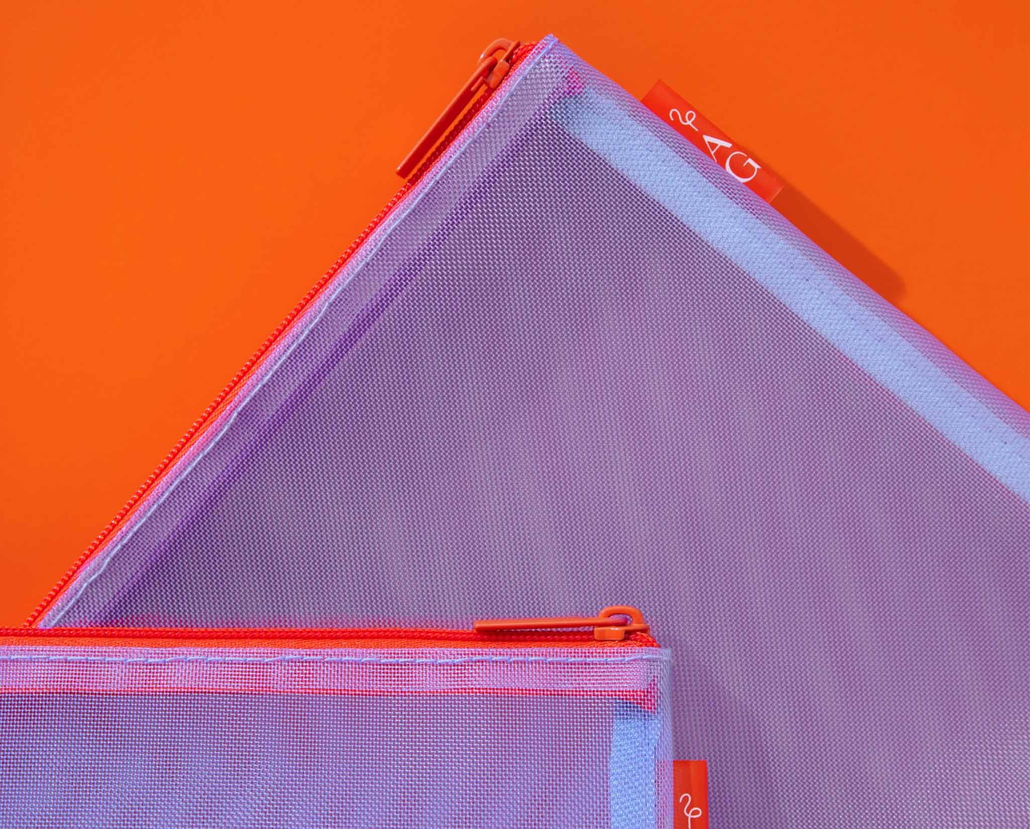 Purple pouch on red background