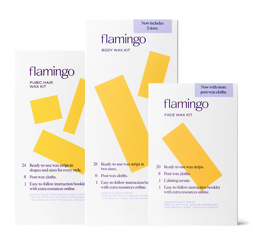 Flamingo face wax kit, body wax kit, and pubic hair wax kit