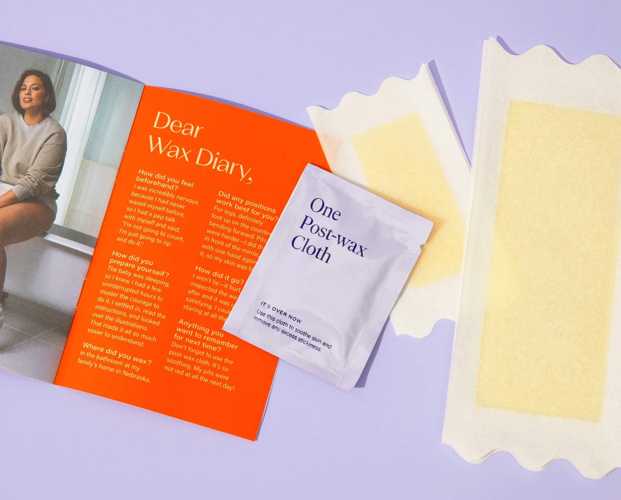 Wax kit instructions, post wax cloth, and wax strips