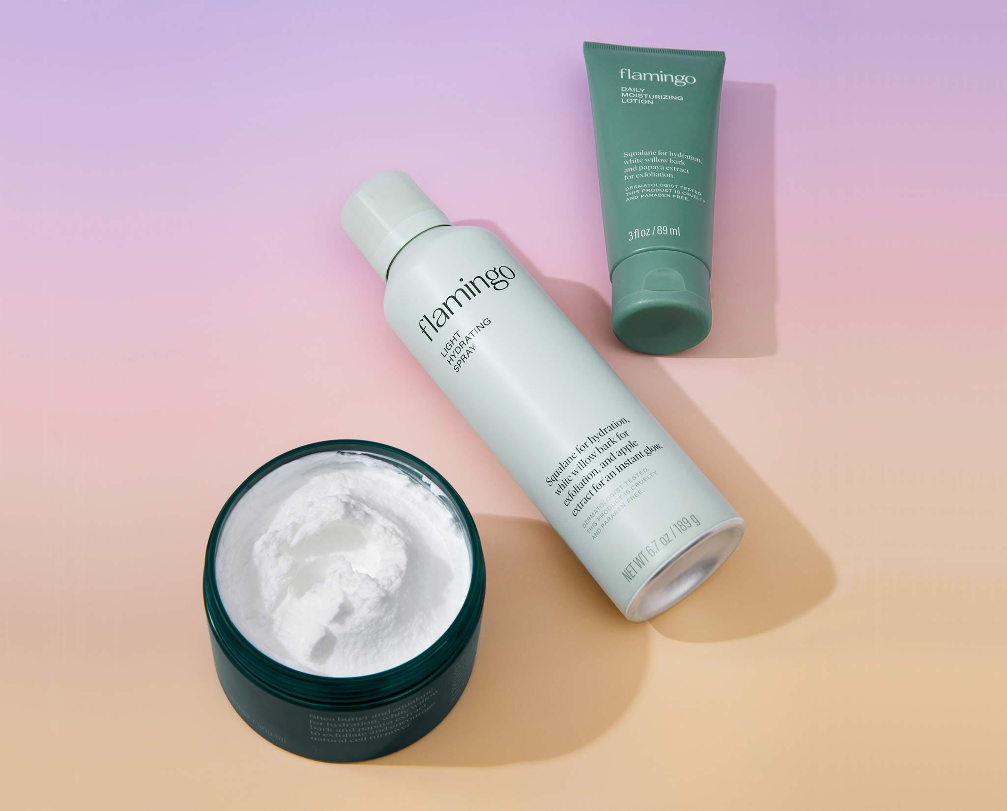 Deep nourishing cream, light hydrating spray, and daily moisturizing loion laying next to one another