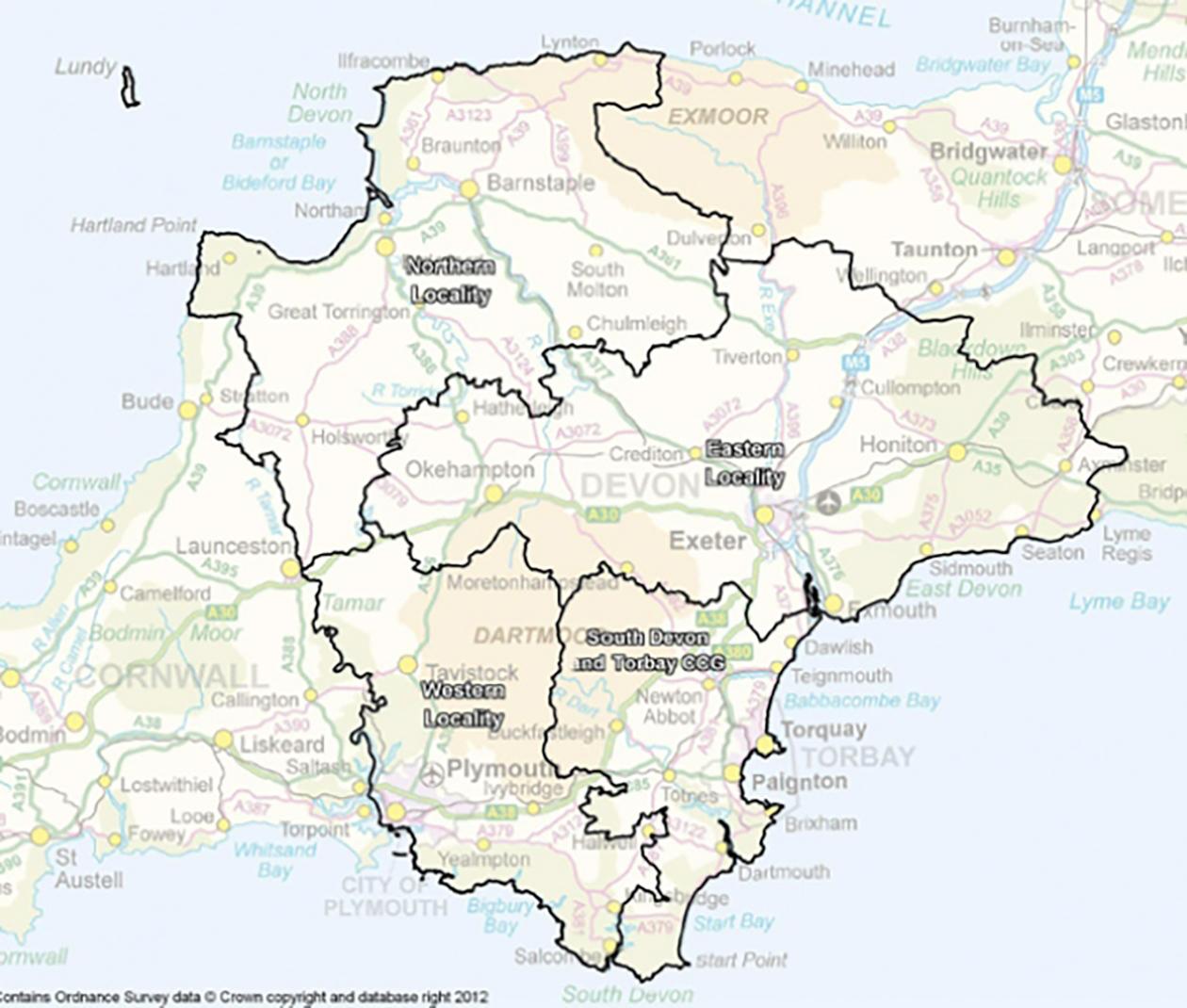 Map of Devon (showing localities)
