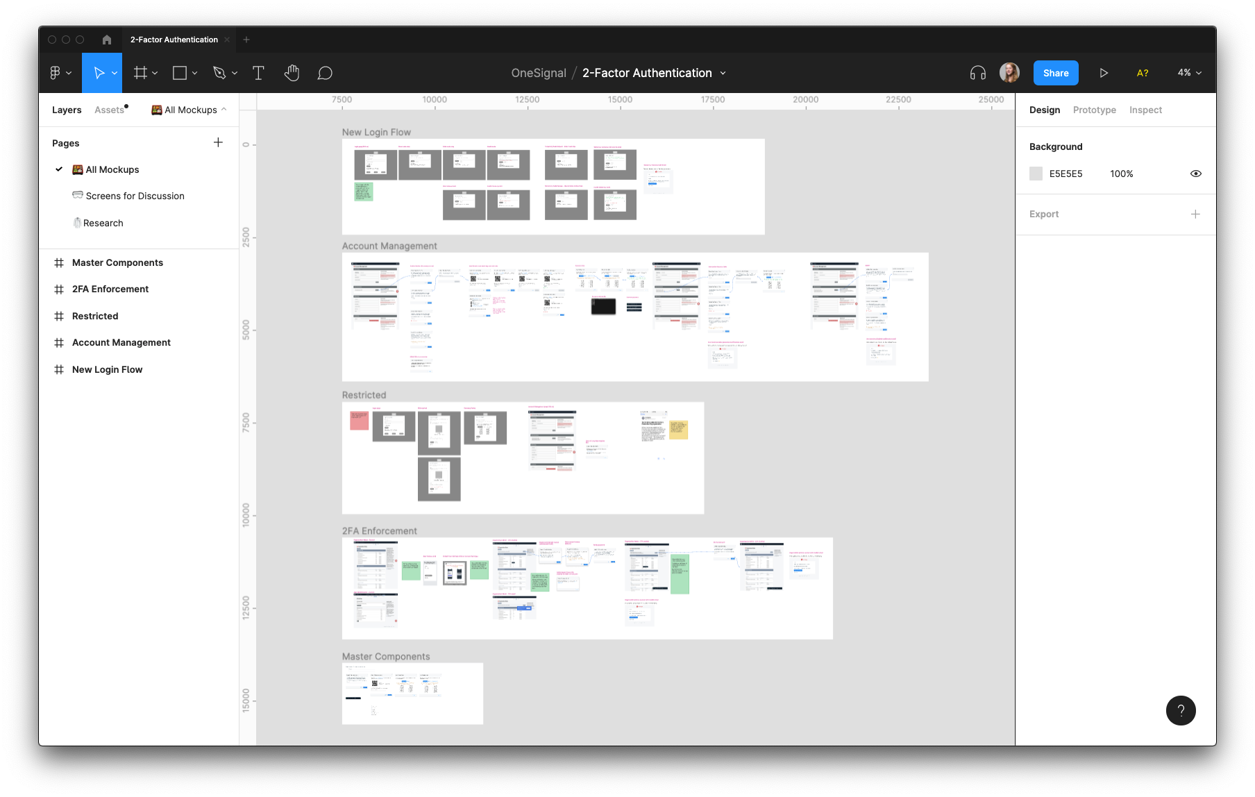 Screenshot from the Figma desktop application with multiple artboards with desktop screen designs visible