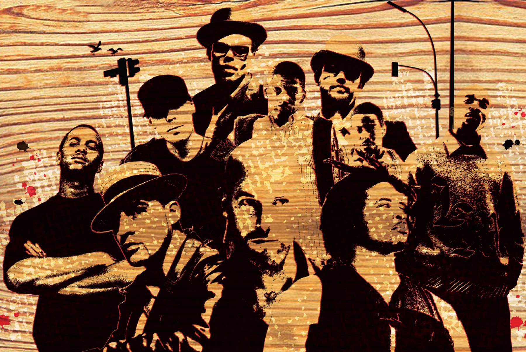 The Om Hip-Hop roster via the <i>Om Hip-Hop Volume One</i> compilation.