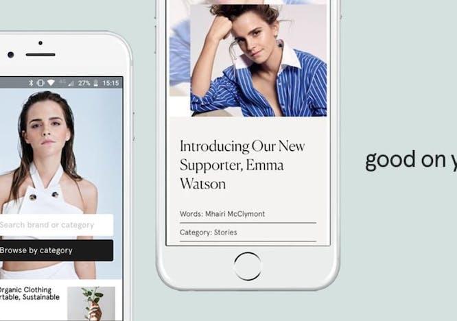 Nella foto l'app Good on You che classifica i brand più sostenibili