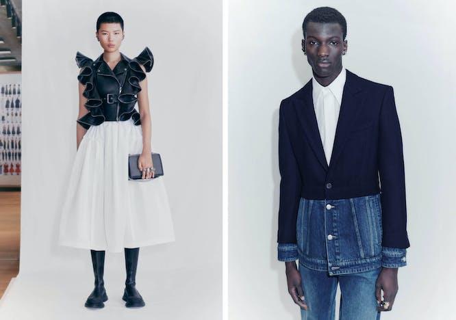 Nella foto la collezione uomo e donna di Alexander McQueen Pre Fall 2021