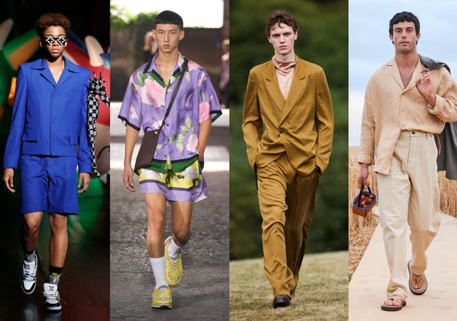 Nella foto i look da sfilata con I pantaloni da uomo di tendenza per la Primavera Estate 2021