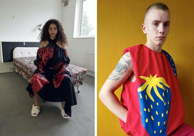 Nella foto due modelli indossano JW Anderson la collezione uomo Primavera Estate 2022 e la collezione donna Resort 2022