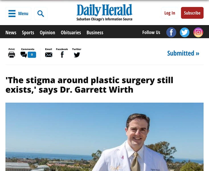 Dr. Garrett Wirth talks about 'The stigma around plastic surgery still exists' in the Daily Herald