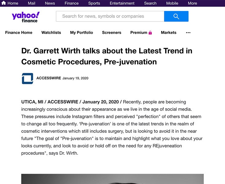 Dr. Garrett Wirth talks about the Latest Trend in Cosmetic Procedures, Pre-juvenation