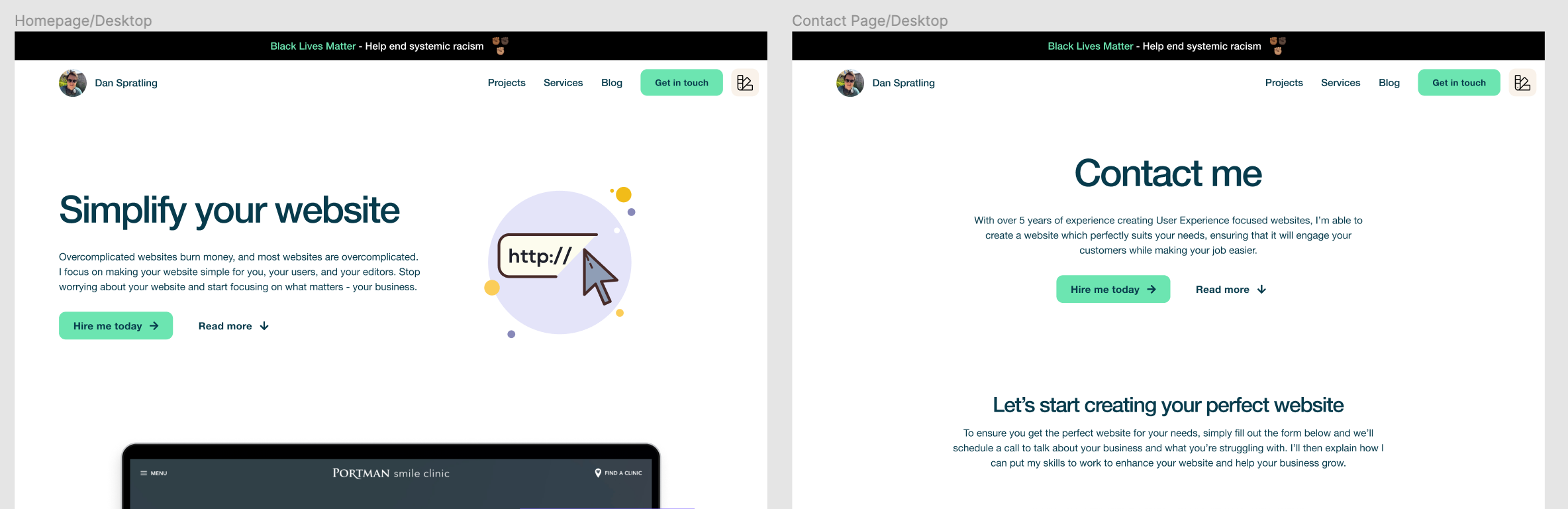 The Hero component on the homepage design (left) has been changed but because it's not created as a component in the design system, the contact page design (right) hasn't updated automatically - they are not out of sync
