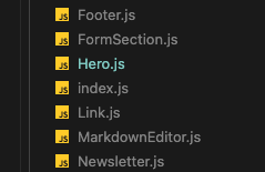 Components (including the Hero) being created in our project code too