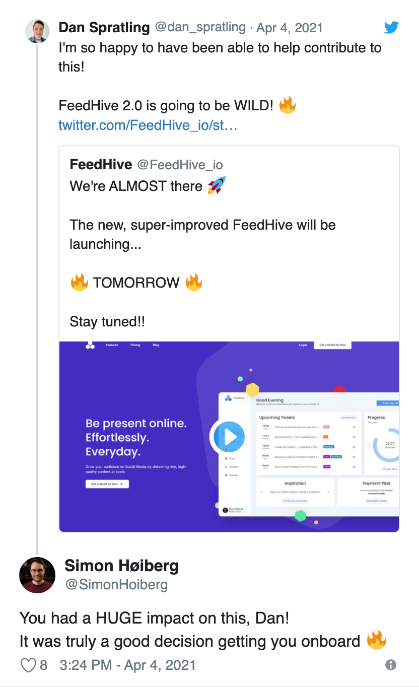 Simon, the founder of FeedHive, publicly appreciating my work on the project