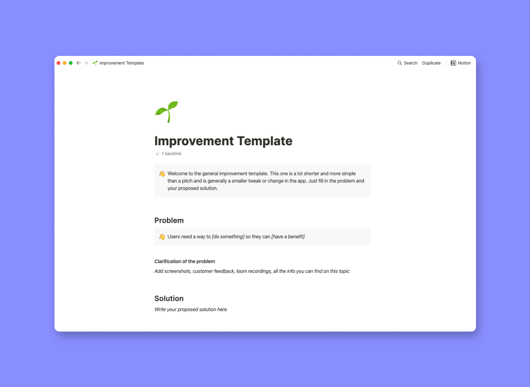 Improvement template