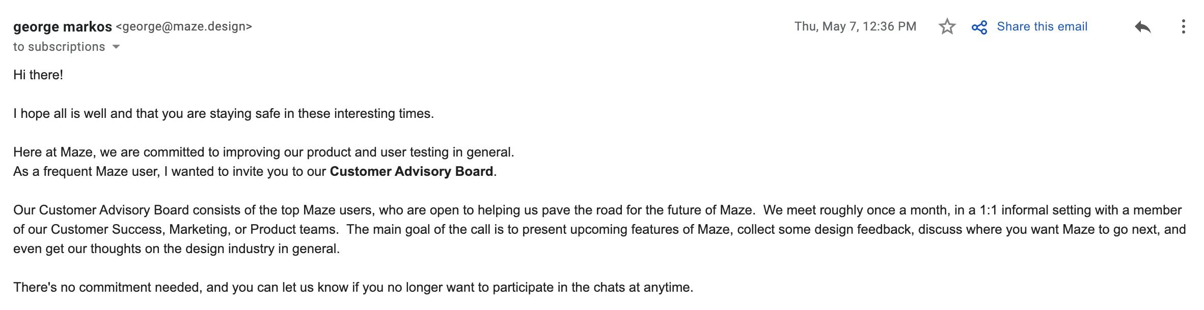 Customer Advisory Board email invitation