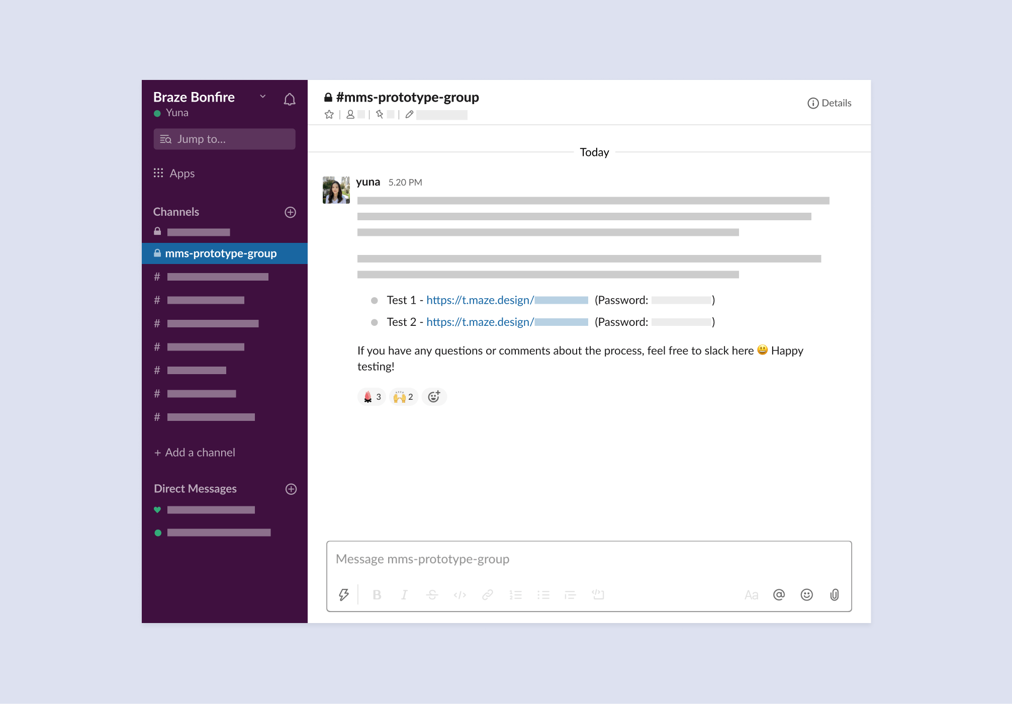 usability testing invitation through slack