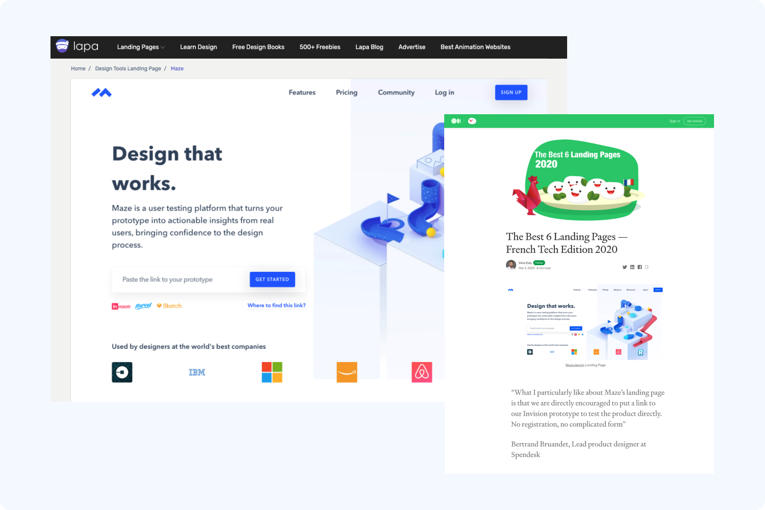 websites featuring Maze's previous homepage