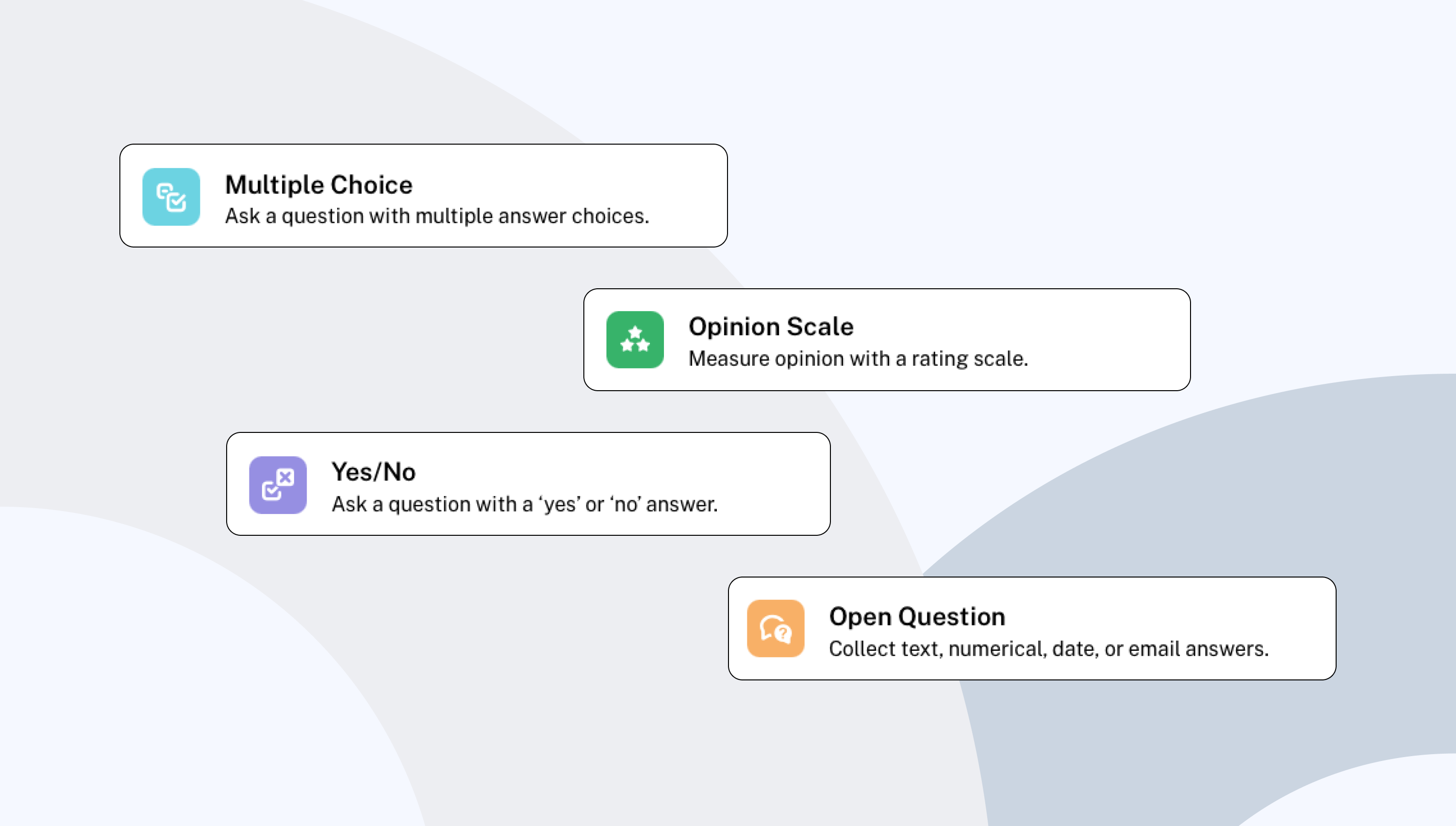 Types of questions available in a Maze test