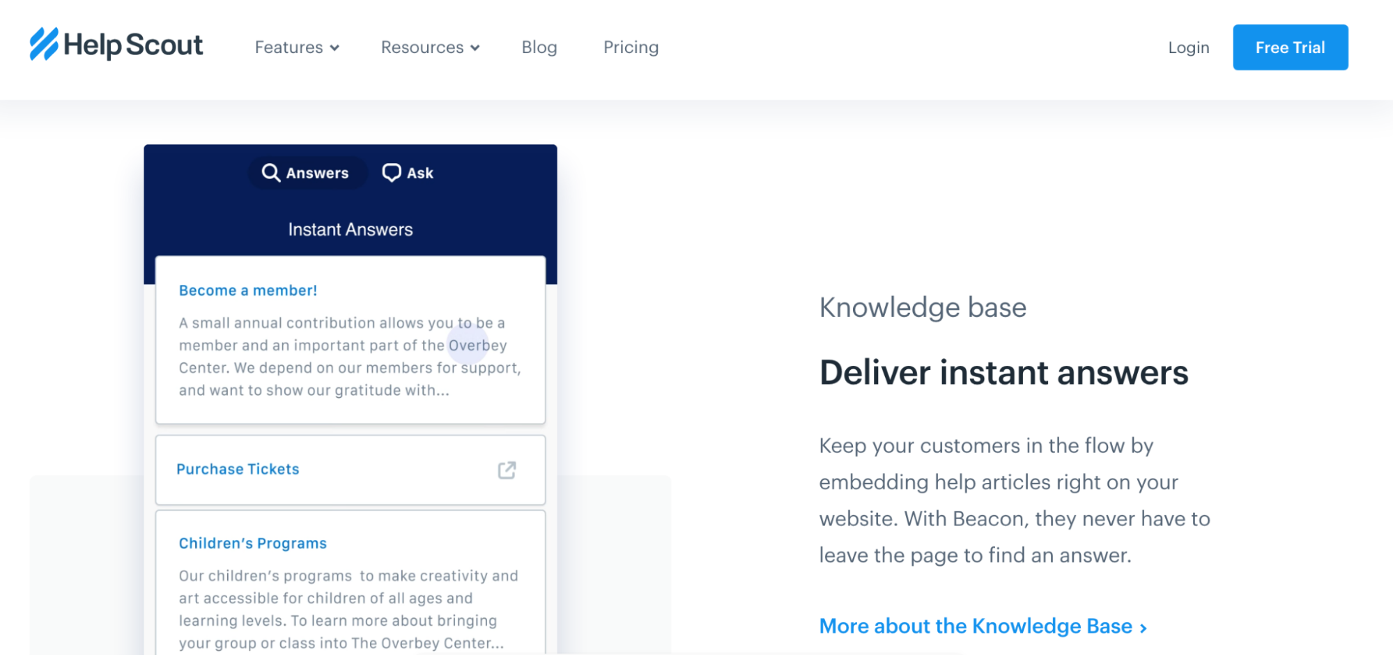 Helpscout's website