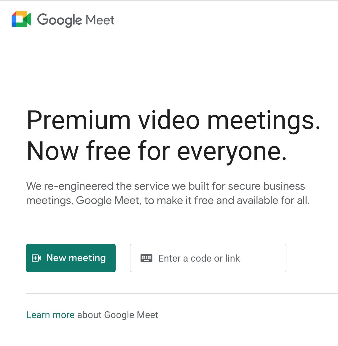 Google Meet's website