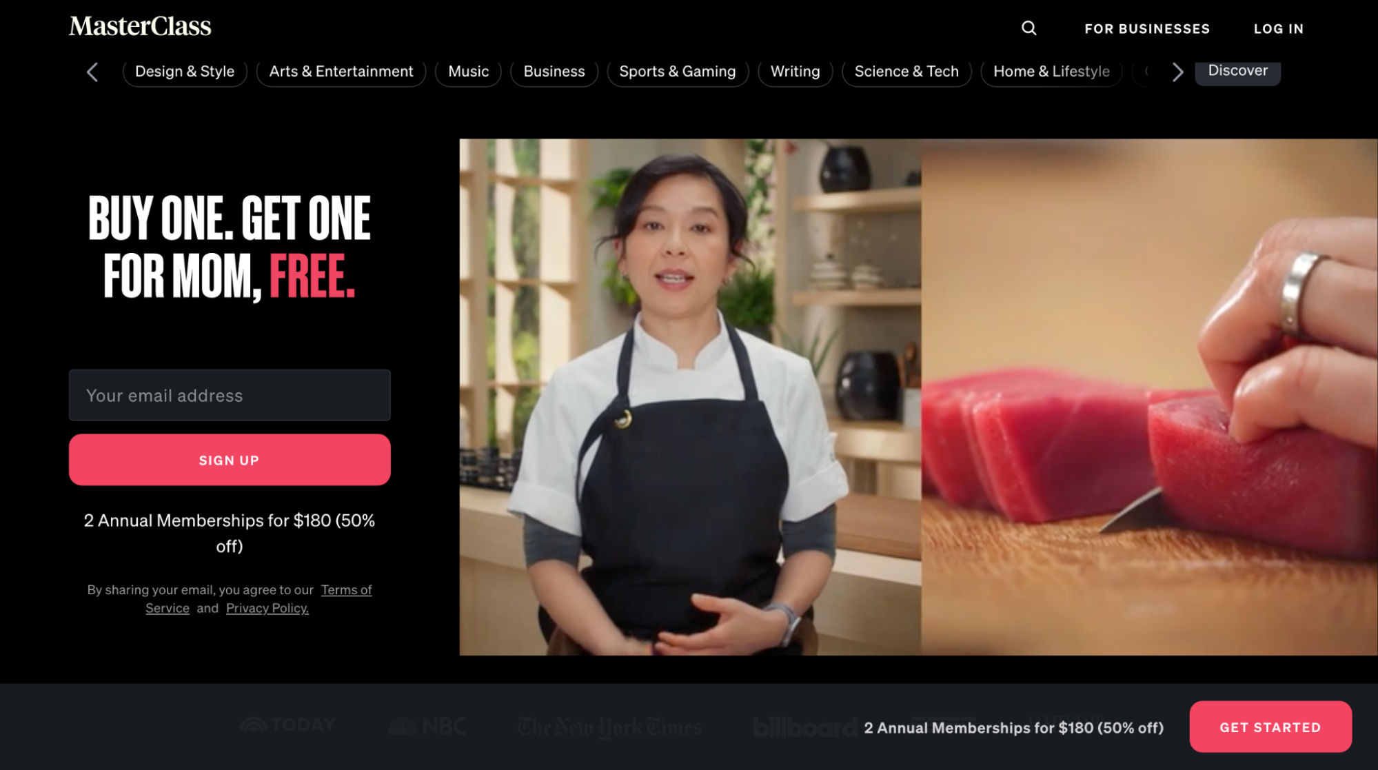 MasterClass's website