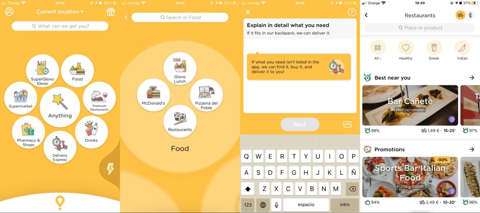 Glovo UX app navigation