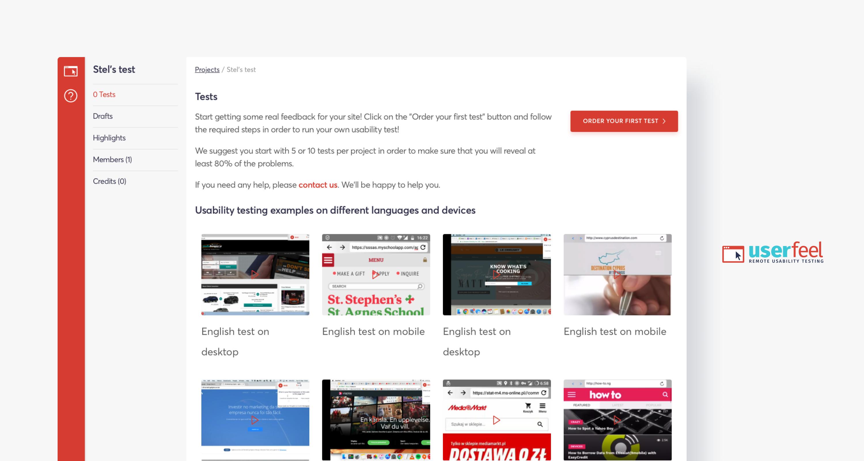 userfeel usability testing screenshot