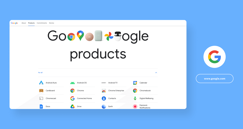 Google products screenshot