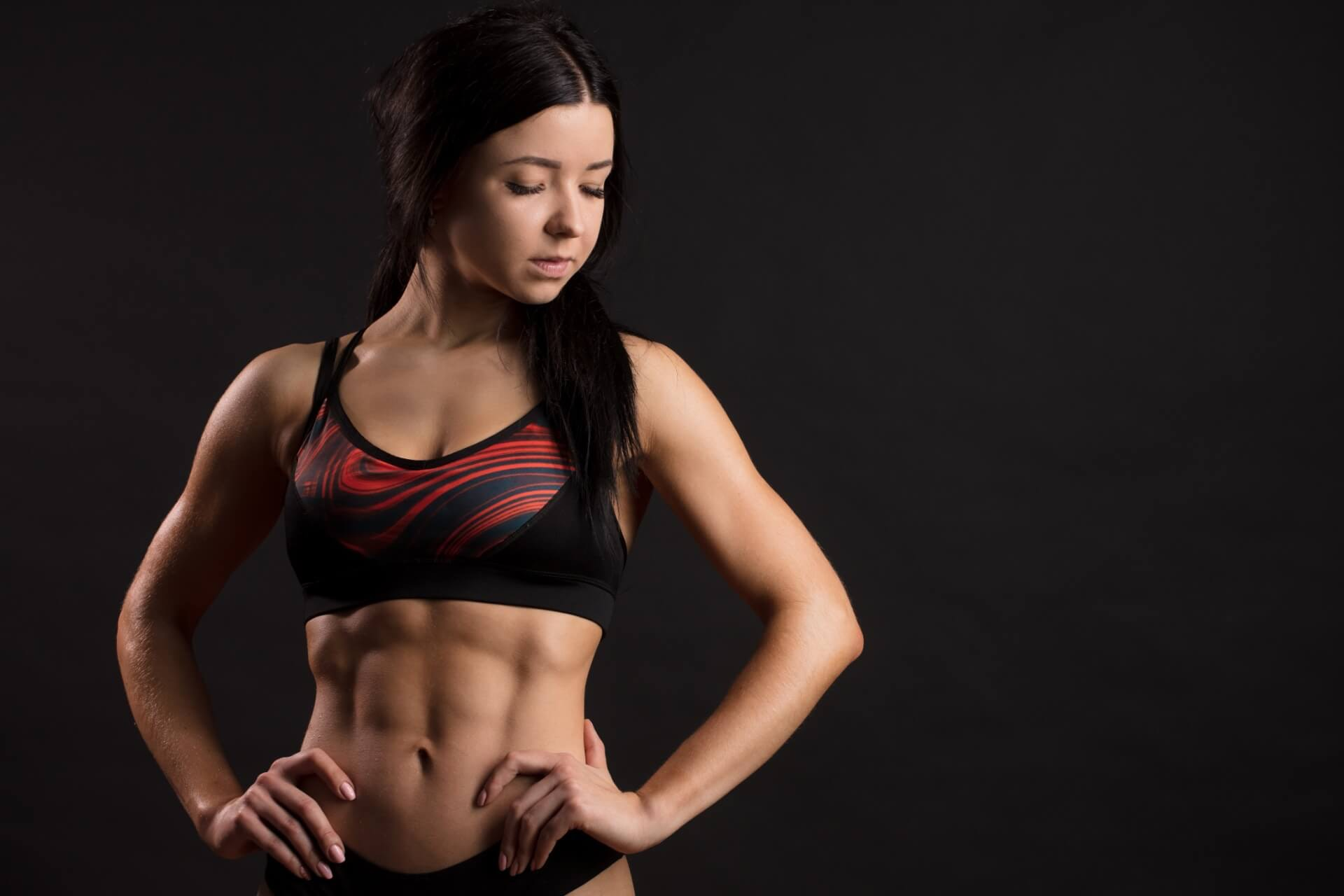 Woman showing off her abs
