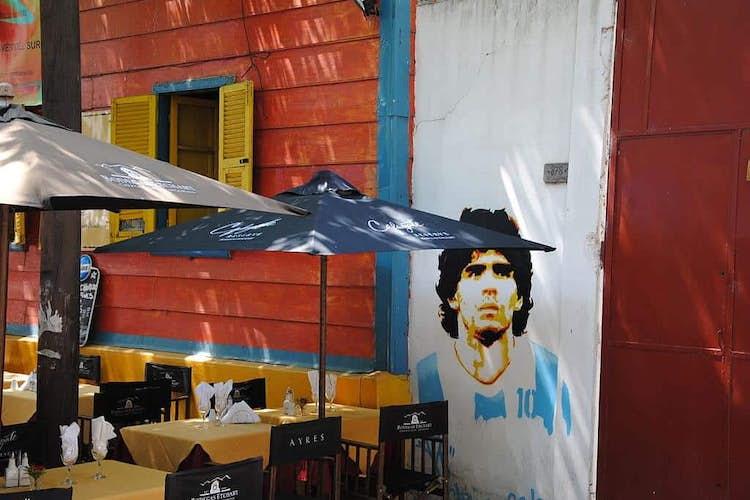 Diego Maradona takes the hand of God