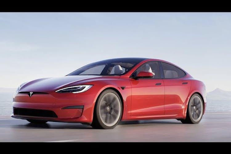 Elon Musk shows off the Tesla Model S Plaid