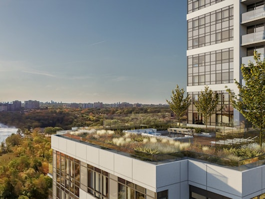 The Humber condominiums with views of the Humber river.