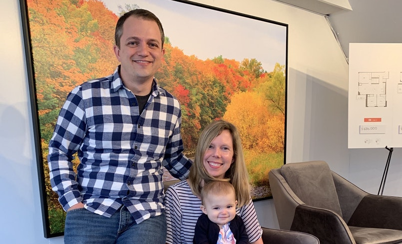 Humber purchasers Sheena McDonald and Adam Vandeven with their baby daughter