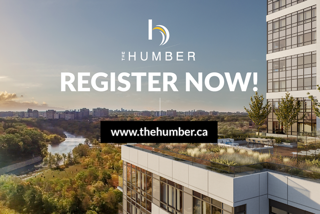 An rendering of The Humber condo with a message to register